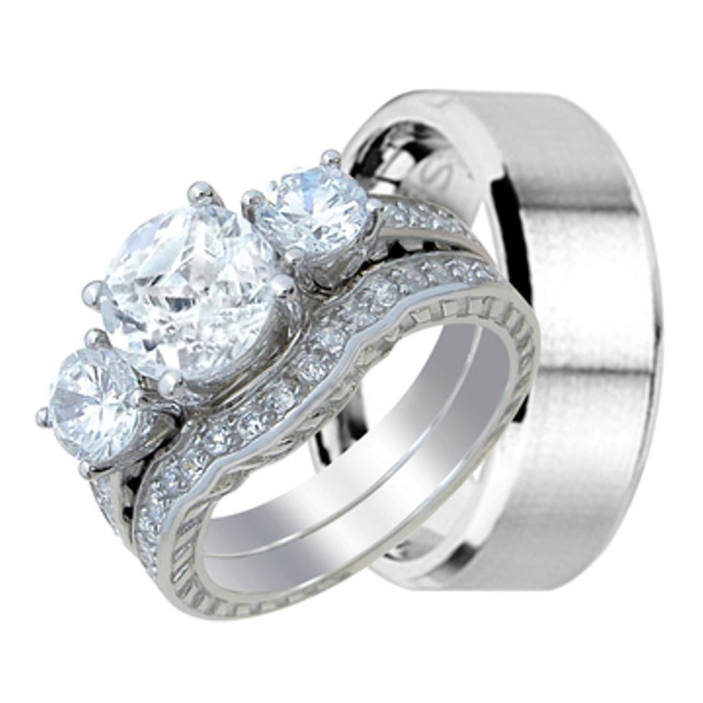his and her wedding ring band set for him stainless steel and her - Wedding Ring Set For Her