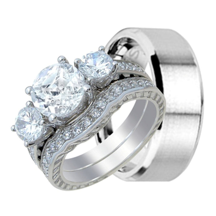 His and Her Wedding Ring Band Set for Him (Stainless Steel) and Her (Sterling Silver)