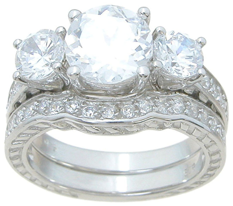 Vintage CZ Cubic Zirconia Wedding Set
