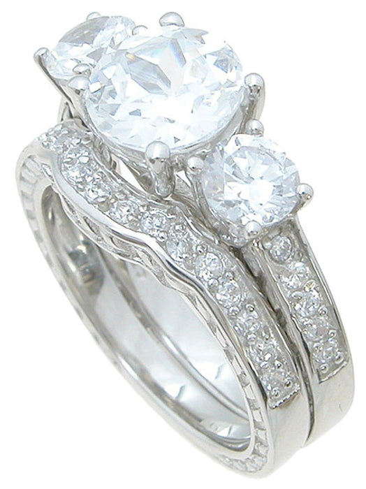 Three Stone Sterling Silver CZ Wedding Set
