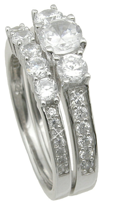 Traditional His and Her Wedding Rings Set Sterling Silver