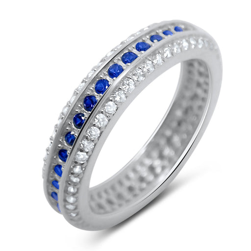 Sapphire Blue White CZ Silver Wedding Band Eternity Anniversary Ring for Women - LaRaso & Co - 1