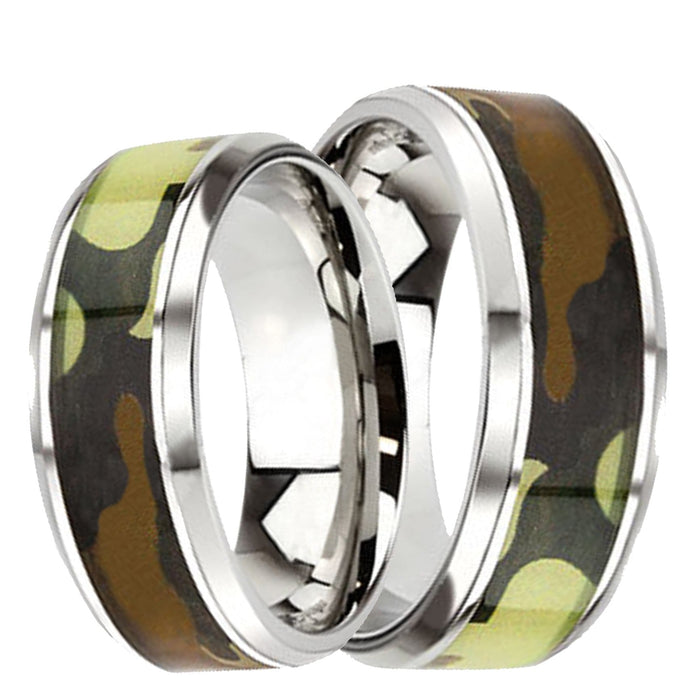 His Hers Wedding Rings Camo STAINLESS STEEL Wedding Bands Him Her