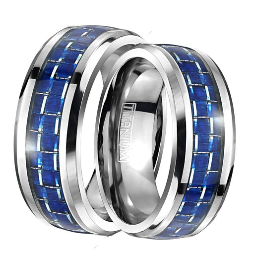 His Hers Wedding Rings TITANIUM BLUE Carbon Wedding Bands for Him Her