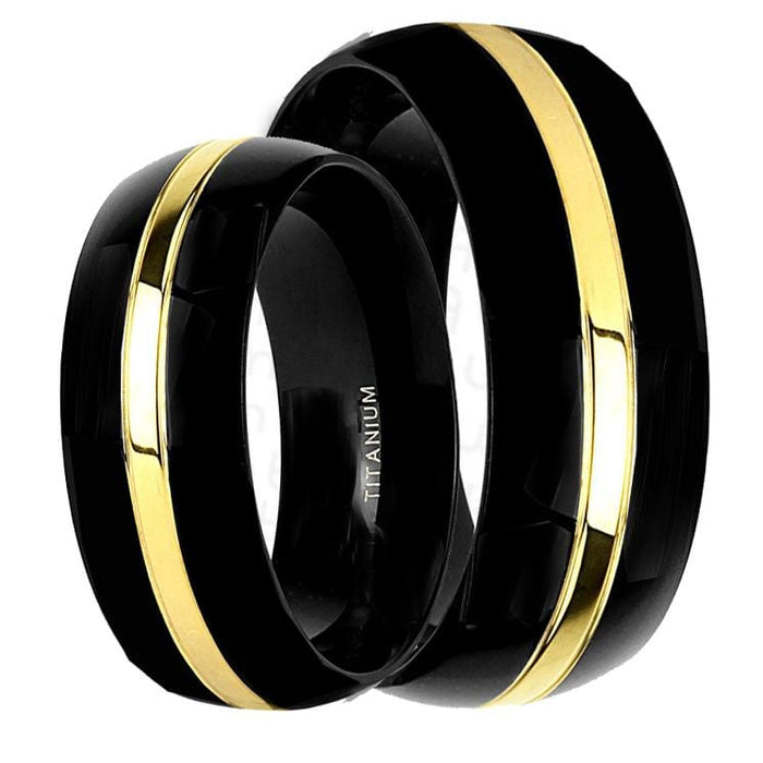 His Hers Wedding Rings Black Titanium Wedding Bands for Him and Her