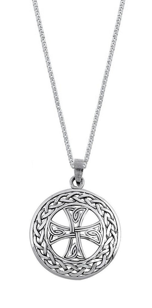 Sterling Silver Braided Celtic Cross Necklace Jewelry for Men (24 Inch)