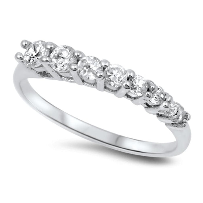 SALE!   Sterling Silver CZ Wedding Eternity Anniversary Band Ring Sizes 5-9