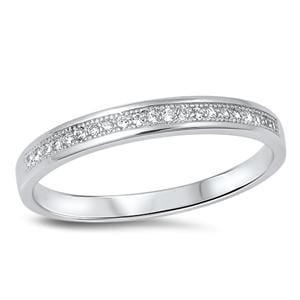 Sterling Silver CZ Wedding Band Ring for Women