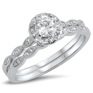 1 Carat TW Vintage Style CZ Wedding Ring Set in Sterling Silver for Women