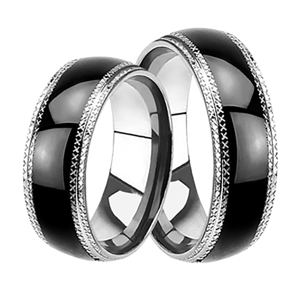 Affordable His Hers Wedding Rings Set Black Plated Bands Him Her ...