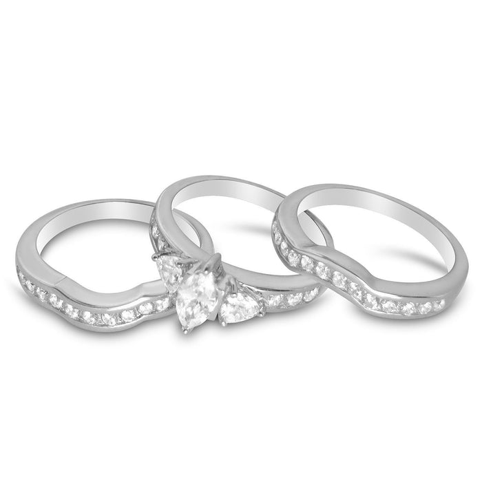 TRIO Wedding Set of Three Bridal Rings for Women