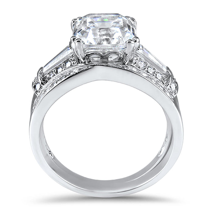 2 Carat Vintage Style Sterling Silver CZ Wedding Ring Set for Women