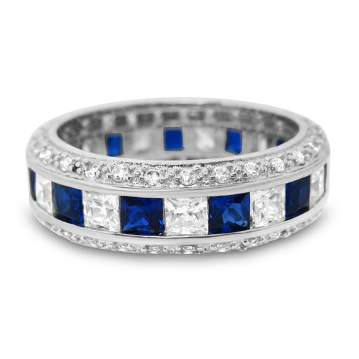 Sterling Silver Simulated Blue Sapphire Eternity Anniversary Wedding Band Ring