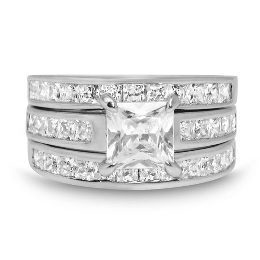 TRIO Wedding Set Princess Cut Three Bridal Rings for Women