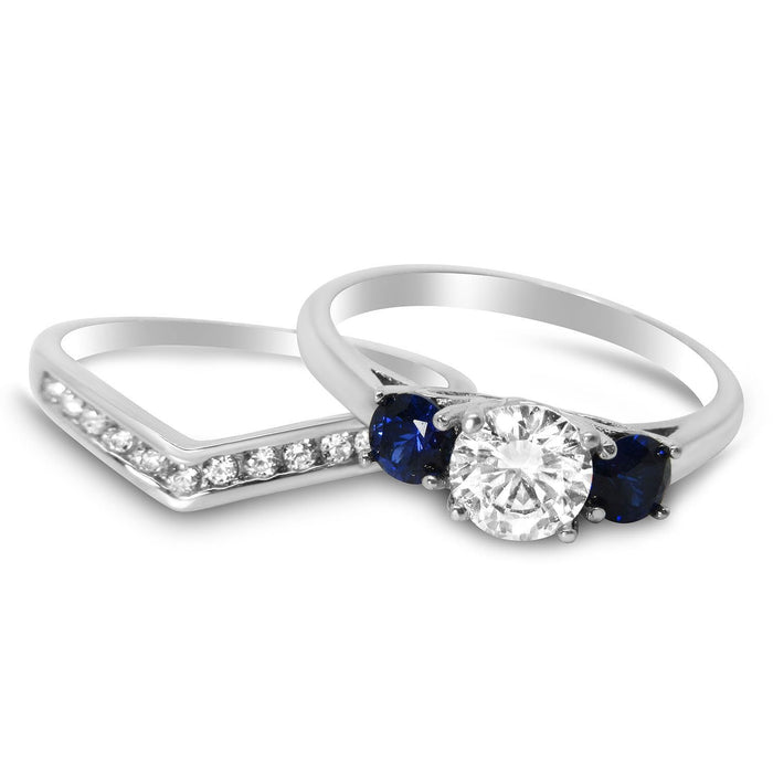 Blue White Wedding Band Engagement Ring Set for Women