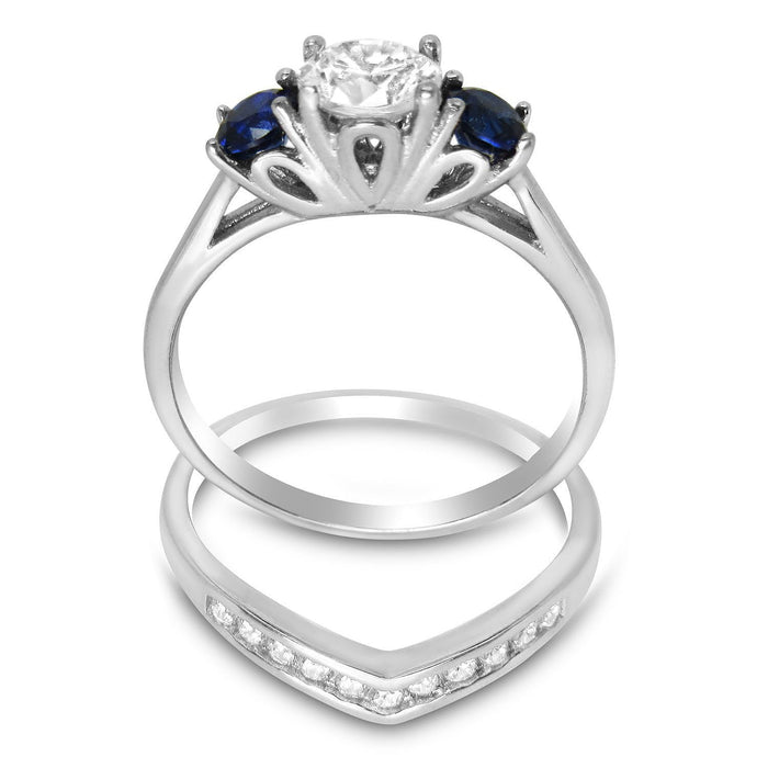 Boston Setting CZ Wedding Engagement Ring Set