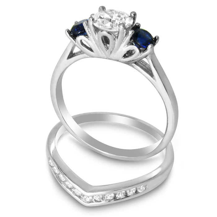 Sapphire Blue CZ Wedding Band Engagement Ring Set for Women