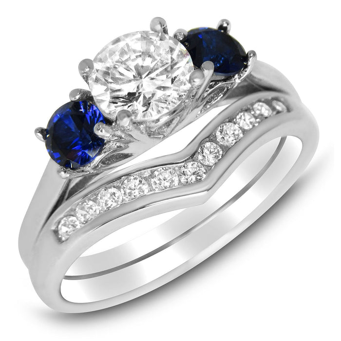 Sapphire Blue White CZ Cubic Zirconia Wedding Set - LaRaso & Co - 1