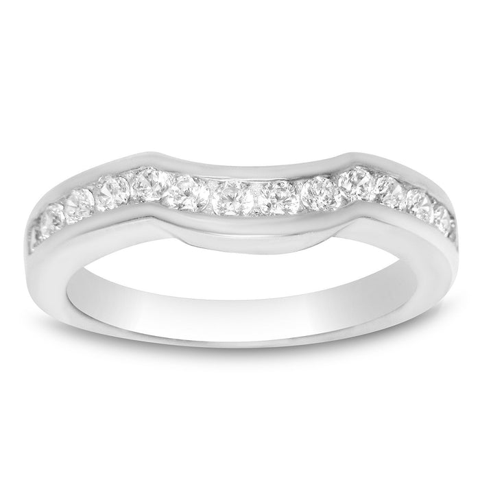 Sterling Silver Sculpted Wedding Band Guard for Engagement Ring