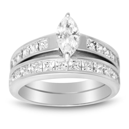 Realistic Sterling Silver CZ Wedding Band Engagement Ring Bridal Set