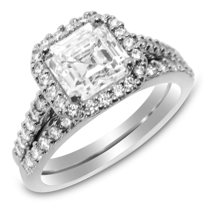 Halo Asscher Cut CZ Silver Wedding Engagement Ring Set for Women