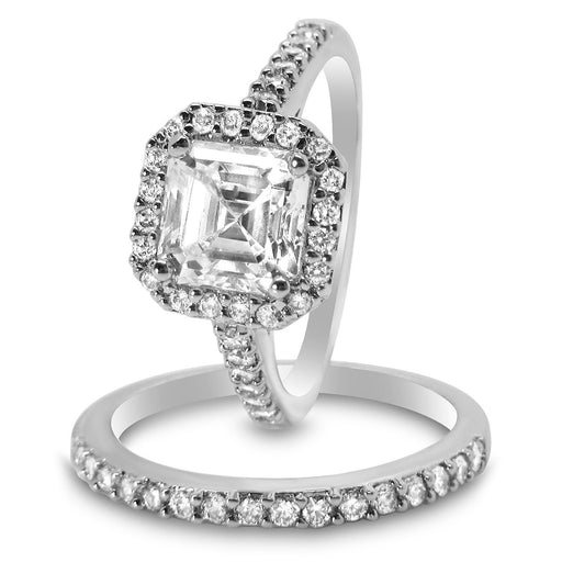 Unique CZ Wedding Engagement Bridal Ring Sets