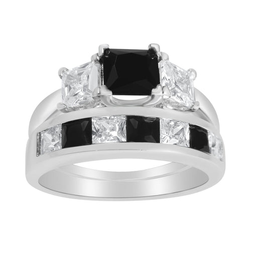 Black Princess Cut CZ Sterling Silver Wedding Engagement Ring Set