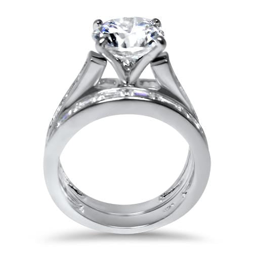 LaRaso & Co CZ Silver Wedding Engagement Ring Set for Women