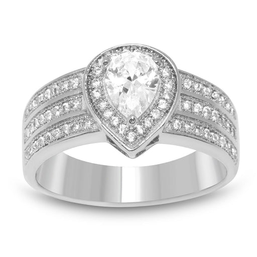 Vintage Design Triple Band Marquise Cut Cubic Zirconia Engagement Promise Ring