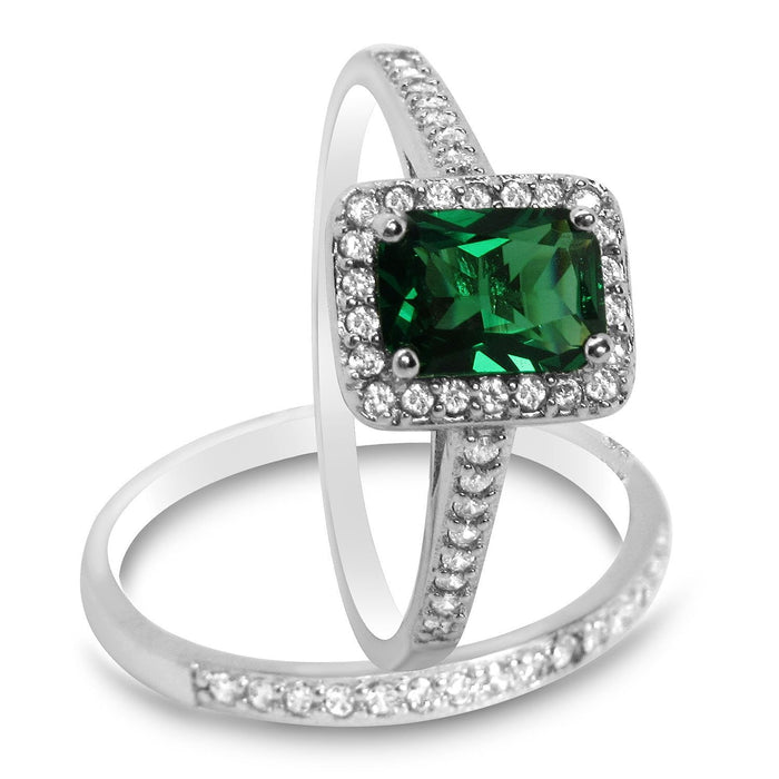 Simulated Emerald Green CZ Wedding Ring Set for Women
