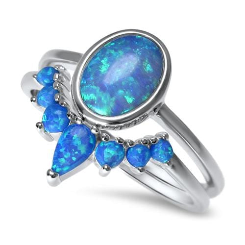 Light Blue Opal Bridal Wedding Engagement Ring Set for Women