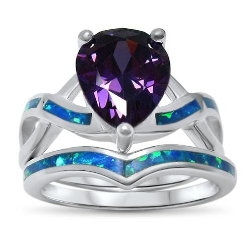 Unique Opal Amethyst CZ Bridal Wedding Engagement Ring Set for Women
