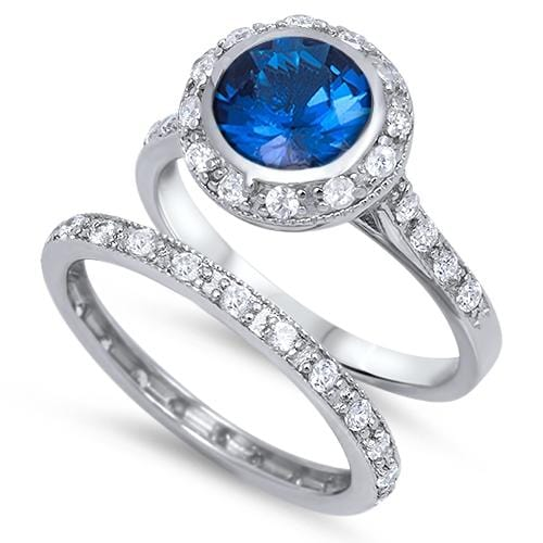 2 Carat Blue Sapphire CZ Sterling Silver Wedding Engagement Ring Set
