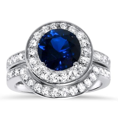Blue Sapphire CZ Sterling Silver Wedding Engagement Ring Set