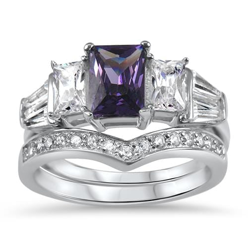 Amethyst CZ wedding ring set