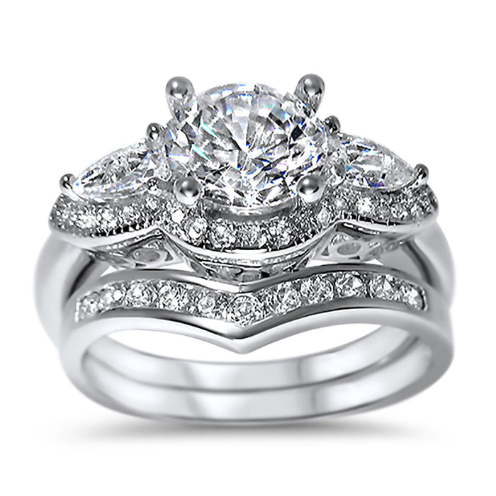 LaRaso & Co Vintage CZ Silver Wedding Engagement Ring Set for Women