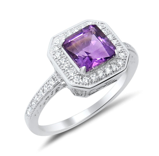 Sterling Silver African Amethyst Ring Princess Square Aascher Cut February Birthstone