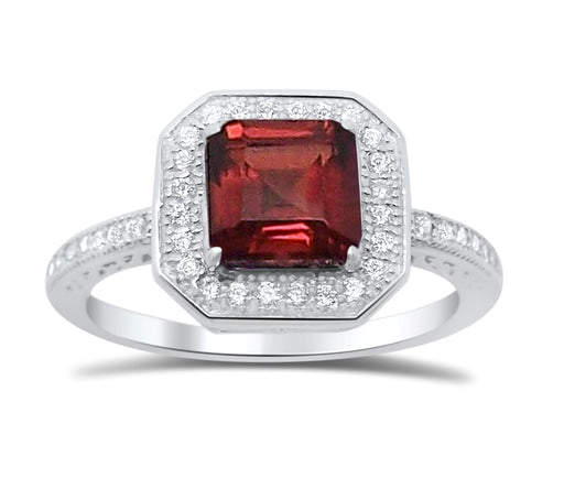 Sterling Silver Garnet Ring Princess Square Aascher Cut Birthstone