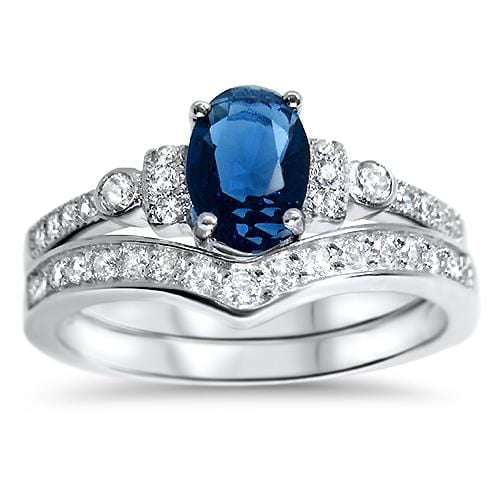 Blue Sapphire CZ wedding ring set