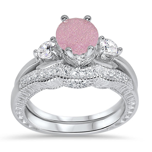 CZ wedding engagement ring set