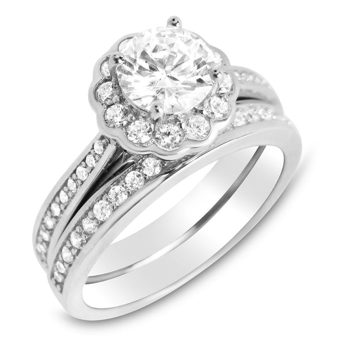 Brilliant Cut Halo Setting Silver CZ Wedding Engagment Ring Set