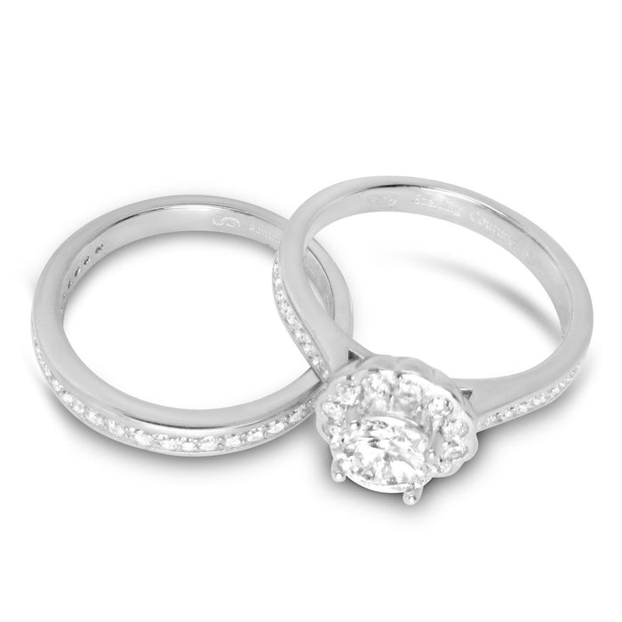 Halo Cubic Zirconia Wedding Engagement Bridal Ring Set