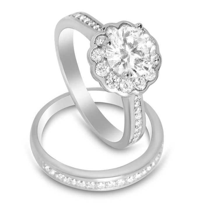 Halo CZ Wedding Engagement Bridal Ring Set