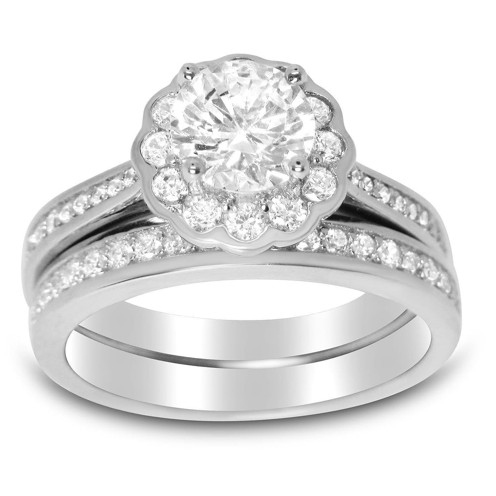 Halo CZ Wedding Ring Set