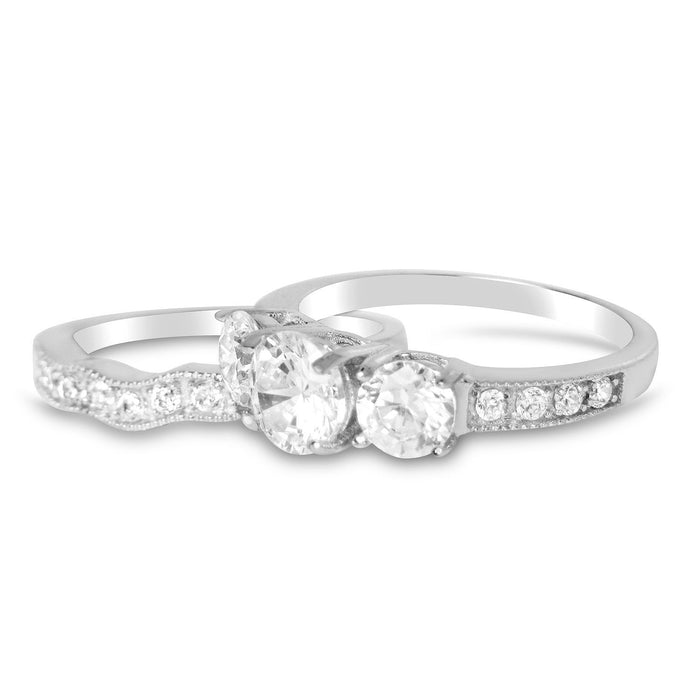 Realistic Cubic Zirconia Wedding Ring Set for Women