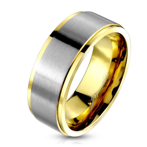 Gold Silver Two Tone Titanium Wedding Ring for Men