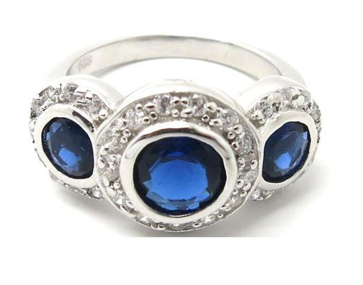 Vintage Style Triple Halo Simulated Sapphire Sterling Silver Ring