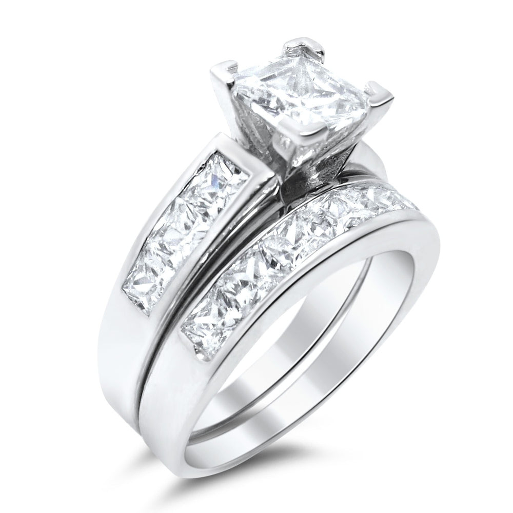 Princess Cut CZ Wedding Ring Set - LaRaso & Co - 1