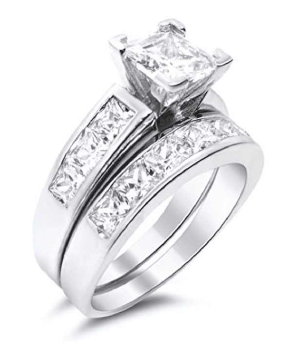 Sterling Silver Princess Cut CZ Wedding Engagement Ring Set