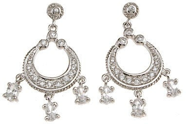 925 Sterling Silver Rhodium Finish Chandelier Antique Style Earrings - LaRaso & Co